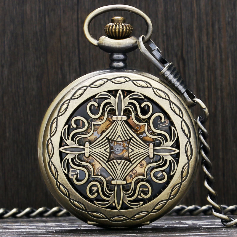 Chines Knot Design Skeleton Mechanical Watch Men Women Senior Gifts Steampunk Hand-winding Nurse Pocket Watch Pendant Fob Chain unique smooth case pocket watch mechanical automatic watches with pendant chain necklace men women gift relogio de bolso