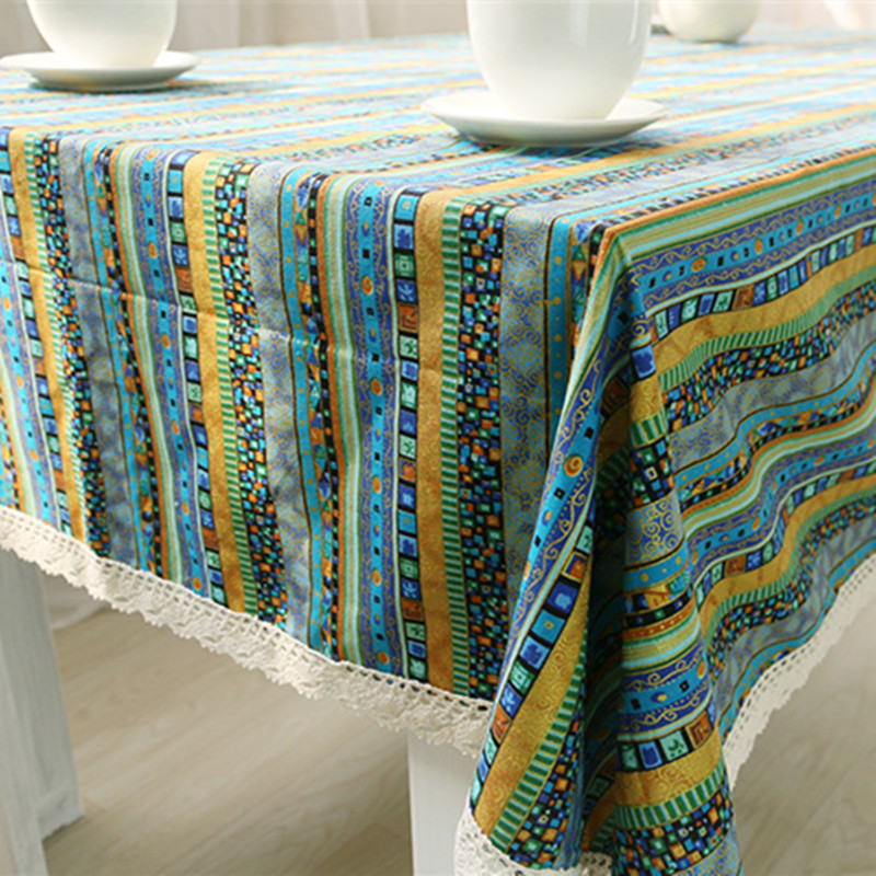 Free Shipping Bohemia Green Striped Tablecloth Cover Toalha De Mesa Nappe  Rectangulaire Concise Manteles Para Mesa Tafelkleed In Tablecloths From  Home ...