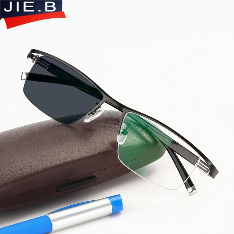 Nové sluneční brýle Transition Photochromic Brýle na čtení pro muže Titanová slitina Frame Men Presbyopia Brýle s dioptrickými brýlemi
