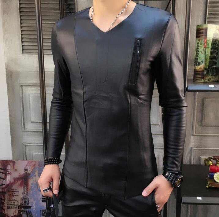 2b2754a4772 New Plus velvet thick Winter Korean tight t-shirt men s wave bottoming shirt  Men zipper