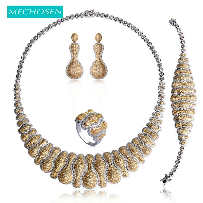 MECHOSEN De Luxe Femmes bijoux de mariage Ensembles Or-couleur Zircon Sautoirs Collier bracelet, boucles d'oreilles Anneau 4 Pièce parure bijoux femme