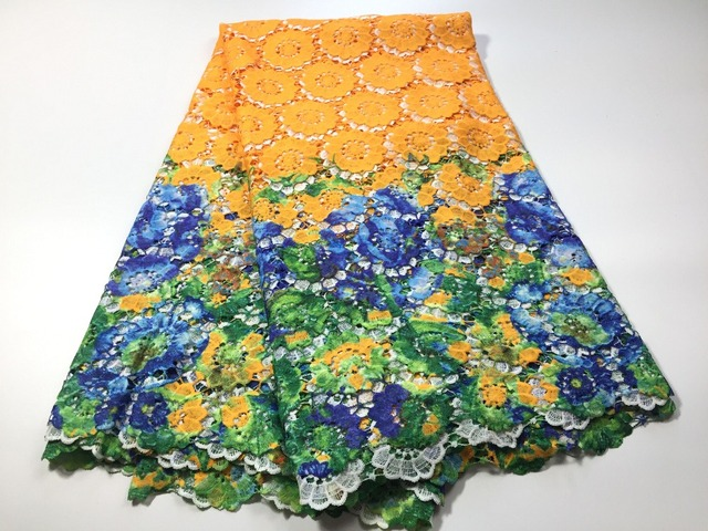 blue/orange/lemon/yellow african cotton nigeria lace cord lace ...