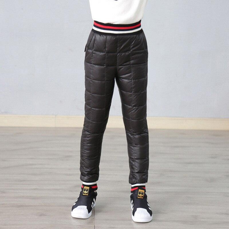 цена на Children Winter Trousers for Girls Snow Wear Kids Duck Down Thicken Boys Pants Warm Leggings Fille Sport Ski Pantaloons Clothing