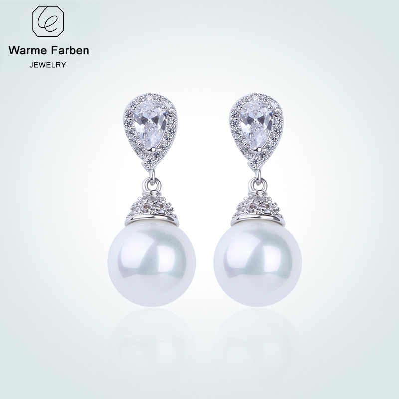 Sliver 925 Earring for Women Crystal from Swarovski Elegant Pearl Drop Earrings Fashion Jewelry Earrings for Wedding Gift Collar title=