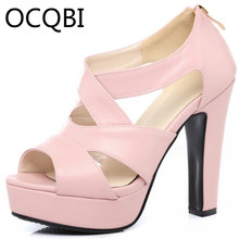 Womens Back Zipper Chunky High Heel Gladiator Sandals Casual Shoes Bridals Platform Size33 Black White Pink Beige