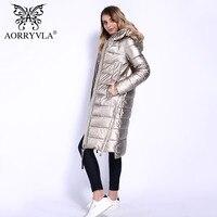 AORRYVLA 2018 Новая коллекция зимнее пальто женское с капюшоном теплая парка искусственная кожа длинное пальто высокого качества Женская верхня