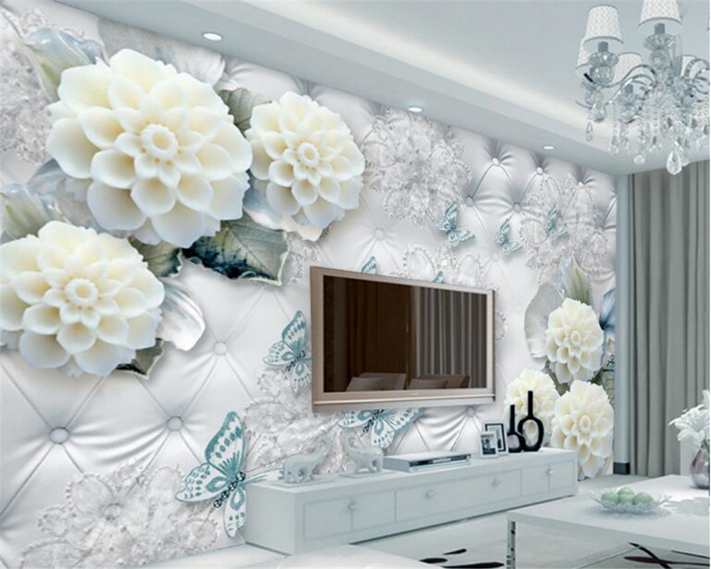 US $8 85 OFF Beibehang Classic High Class Interior Decoration Papel De Parede 3d Wallpaper 3D Luxury White Flowers Jewelry Wall