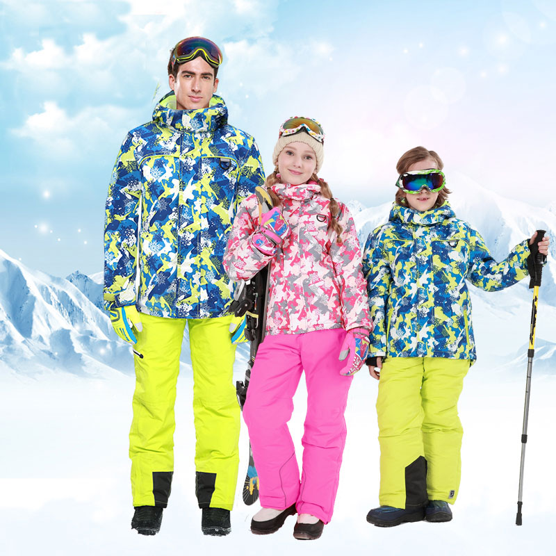 Family Sets 2017 Winter Outwear Ski Suit Clothing Family Set Hooded Pant & Jackets Women Boys Girls Suits Outdoor Ski Suit 2016 winter boys ski suit set children s snowsuit for baby girl snow overalls ntural fur down jackets trousers clothing sets