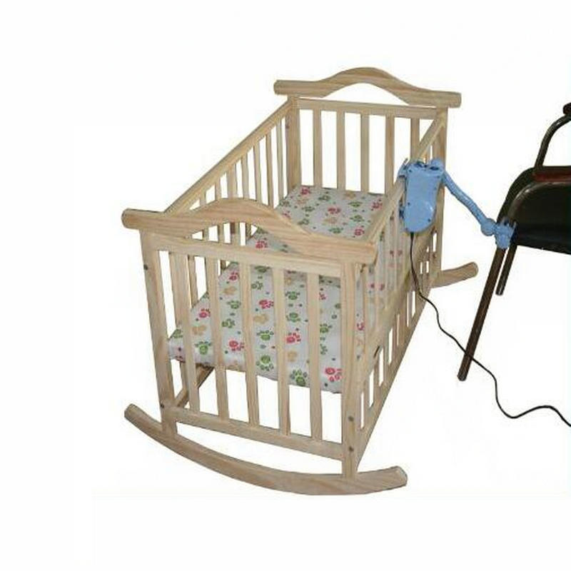 No Radiation Electric Rocking Baby Cradle, Baby Swing Pine Cribs, No Paint Safety Natural Color Baby Bed With Mosquito Net