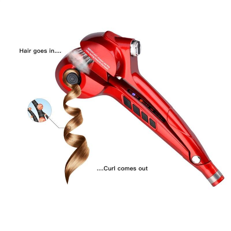 CkeyiN automatique Spray fer à friser en céramique vapeur cheveux bigoudi en céramique coiffure bigoudi LED numérique cheveux Curl rouleau Curling - 4