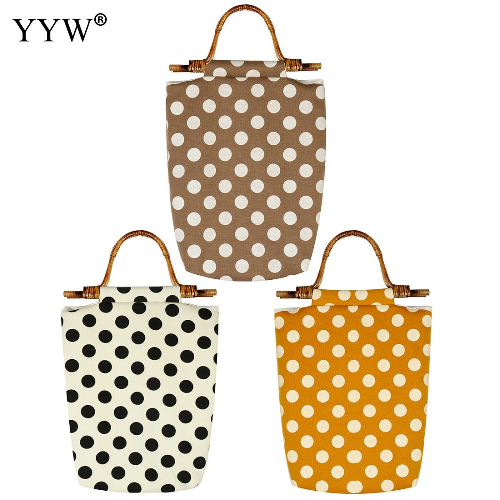 YYW Casual Print Dot Shoulder Bag Large Capacity Shopping Bag Female Casual Canvas Tote Handbag For Lady Girl