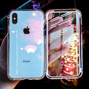 Luxury Magnetic Adsorption Phone Case For iPhone X XS 10 9 8 7 6 6S 9 Plus Coque Shell Metal Magnet Back Glass Cover Fundas iphone xr case magnetic