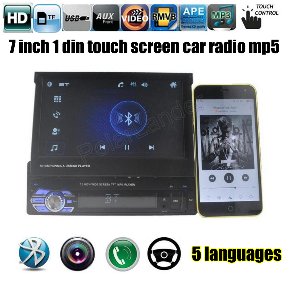 for rear camera Car Radio player New bluetooth MP5 Audio Stereo FM Bluetooth Phone USB/TF 1 DIN 12V 7 inch touch car radio audio stereo with 2usb bluetooth tf fm mp4 player touch screen support rear camera hot sale 2din 6 2 inch