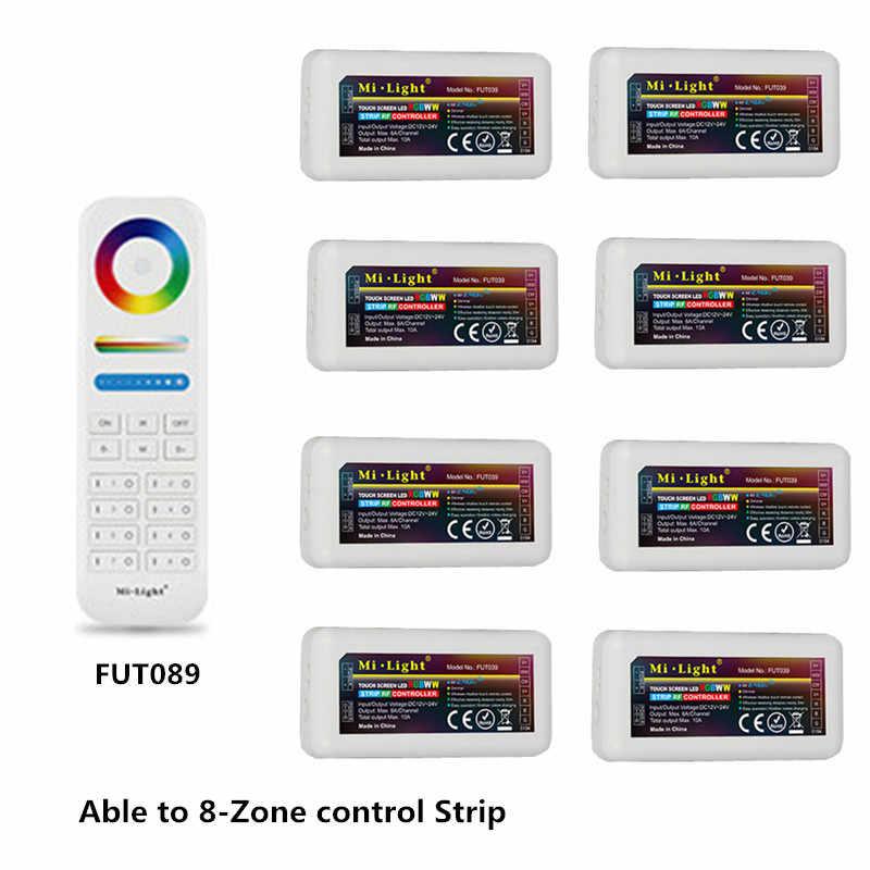 DC12V-24V Mi lumière FUT039 2.4G 4 zones RF sans fil rvb + CCT LED contrôleur de bande gradateur pour Flexible 5050 3528 RGB CCT LED lumières