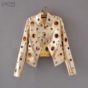 Image 3 - Adyce nouveau manteau de piste de luxe femmes manteaux noir doré argent à manches longues évider célébrité dame fausse fourrure cuir Club manteau