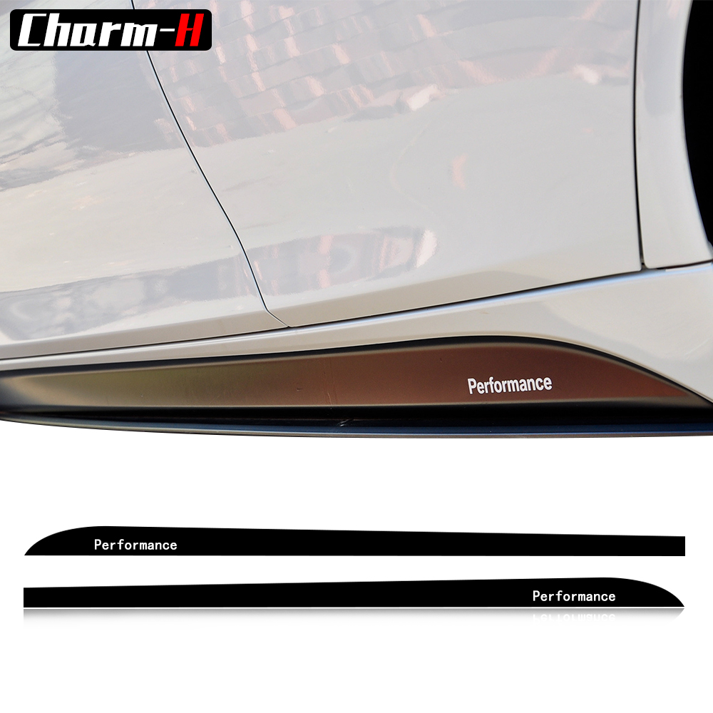 2X M Sport Performance Side Skirt Sills Stickers For BMW F30 F31 F32 F33 F15 F16 F10 F11 E90 E60 E61 G30 5D Carbon Fiber Decals