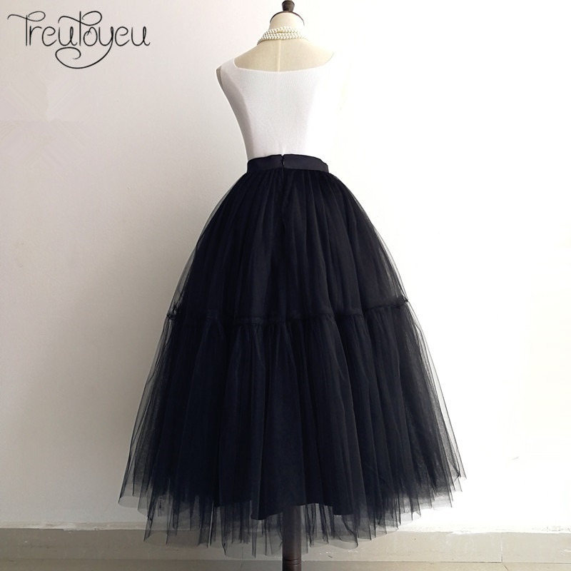 [Custom Made] 5 Layers Black Maxi Long Tulle Skirt Pleated Tutu Skirts Womens Vintage Lolita Petticoat faldas saia midi jupe