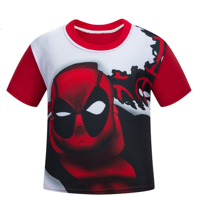 Deadpool red cartoon children short sleeve T shirt boys and girls summer T-shirt good material