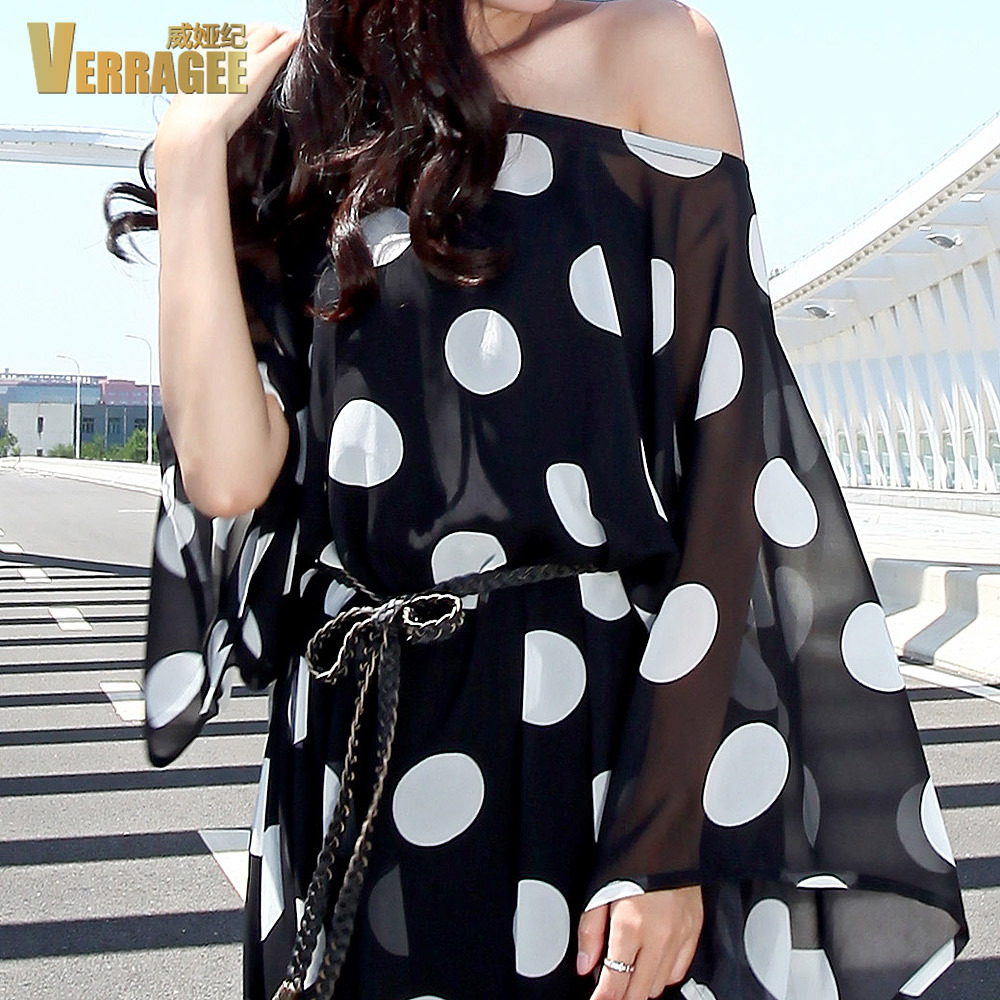 fe0e8fece1 Verragee Autumn Summer Dress Black White Dot Print Chiffon Casual Plus Size  Dress Long Maxi Dress Party Dresses Women 2015-in Dresses from Women's  Clothing ...