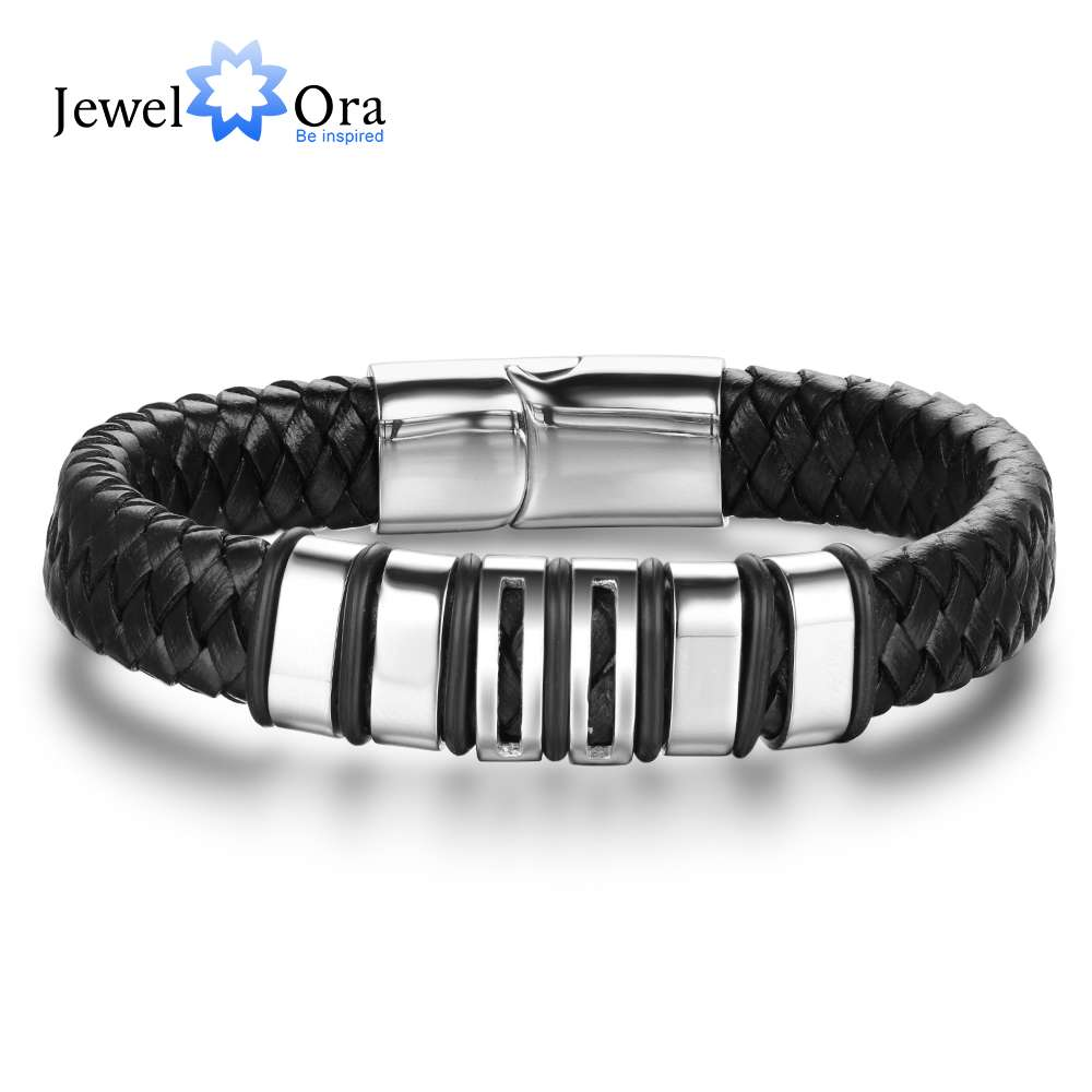 Genuine Leather Bracelets & Bangles Length 215mm Stainless Steel Men Bracelet Jewelry Gift For Men (JewelOra BA102059) chic stainless steel faux leather bracelet for men