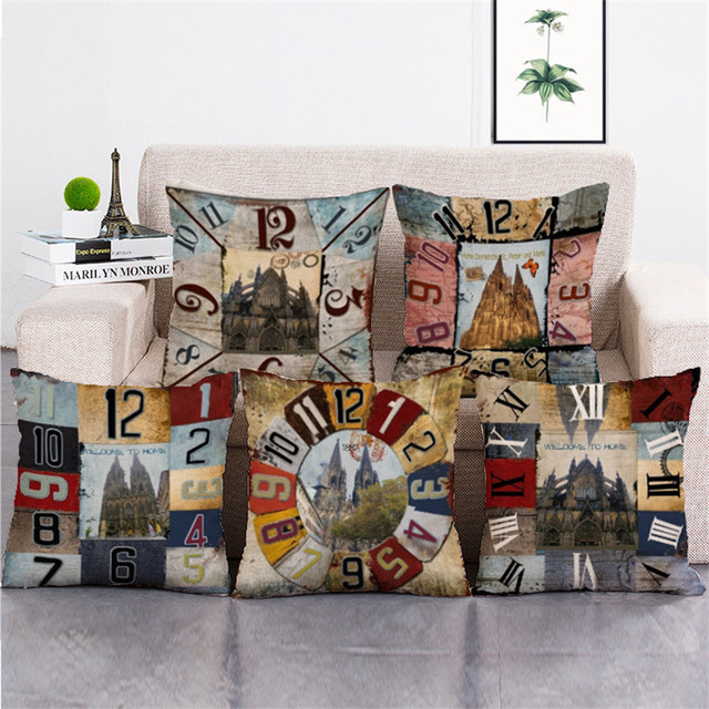 KYYZROZZZ New Designer Decorative Cushion Cover Print Clock European Delectable Designer Decorative Throw Pillows