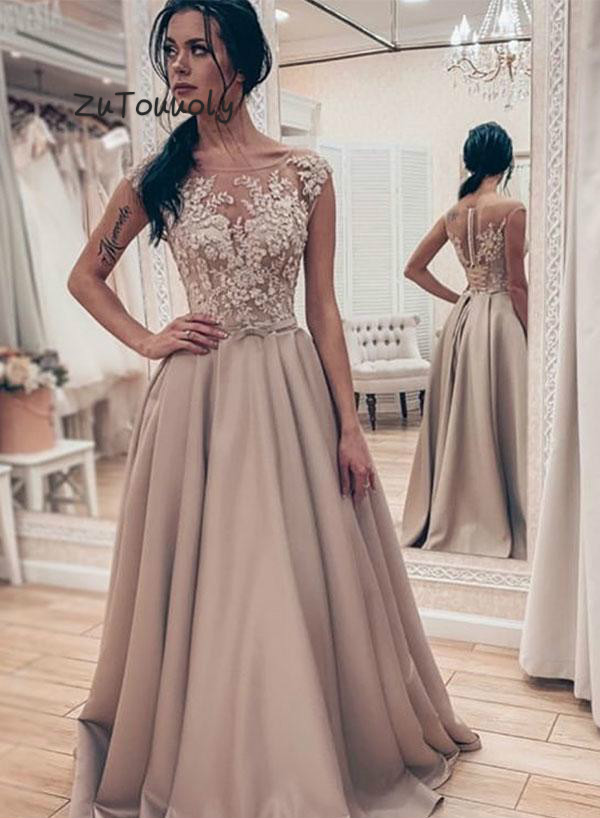 vestidos de fiesta de noche Long   Prom     Dresses   A Line Sheer Tops Lace Zipper Back Satin Long Formal Graduation   Dress   For Girls