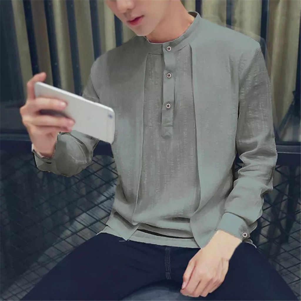 男性シャツ古典的な中国風のカンフーシャツトップス唐スーツ長袖リネンブラウス人格 playeras デ hombre camisas