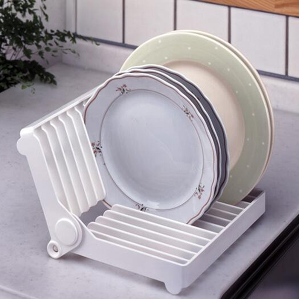 Kitchen Accessories White Color Rein Folding Plate Draining Rack Dish Storage Rack Dish Drying Rack Kitchen Organizer 1pc