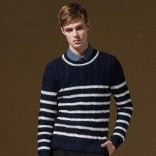 DANDY HOMME brand font b men b font clothing autumn winter stripes long sleeve font b