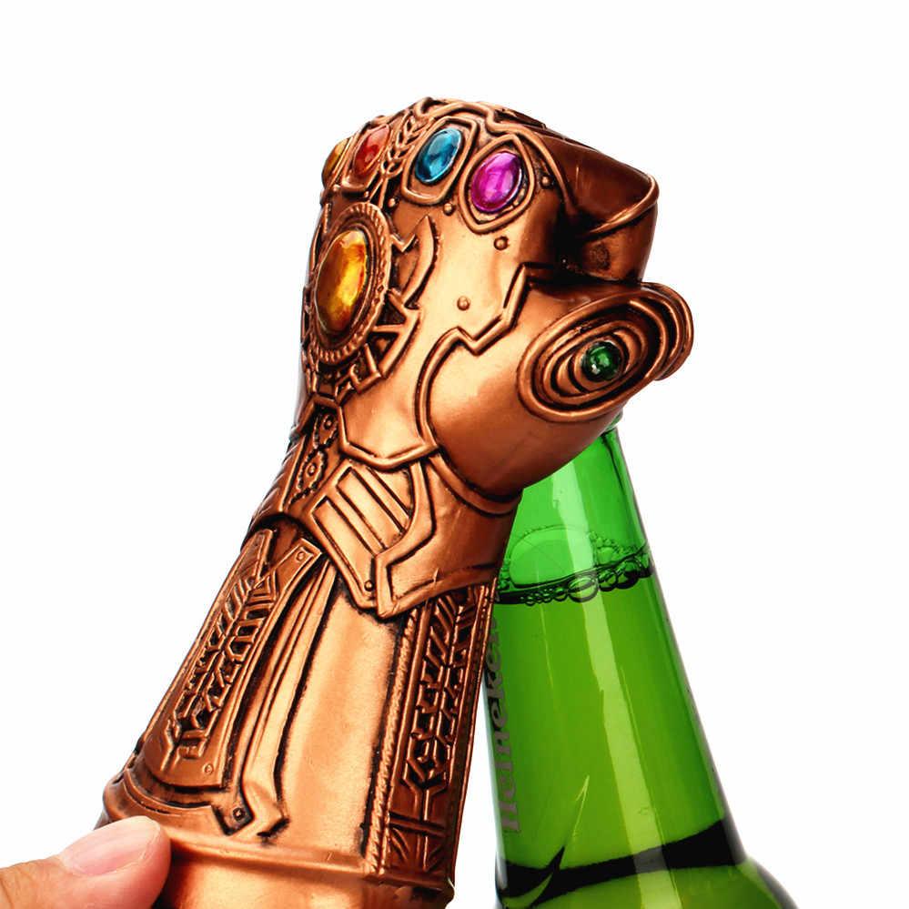 Los Vengadores Infinity Thanos guante abridor de botellas de cerveza Kit removedor de tapas de vidrio de Soda con abrebotellas de mango largo