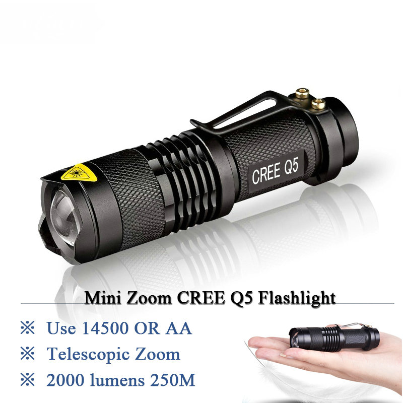 Mini Rechargeable led flashlight led cree q5 Lanterna High Power Torch 2000 lumen Zoomable Tactical Penlight lantern bike light zk94 high quality cree q5 2000 lumens lanterna waterproof mini black led flashlight 3 modes zoomable tactical torch light