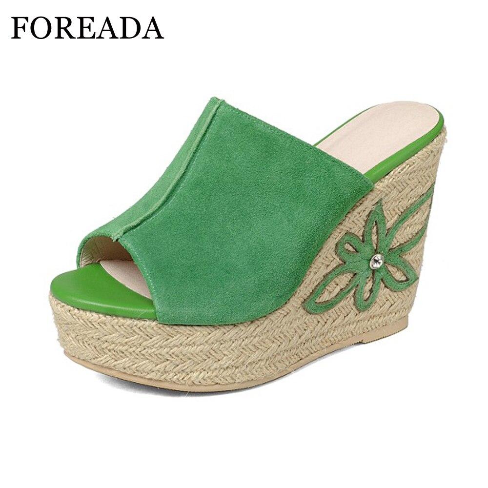 FOREADA Genuína Sapatos de Couro Mulheres Sandálias Sandálias Plataforma Sandálias Plataforma Cunha Peep Toe de Salto Alto Sapatos de Flores Verde Branco