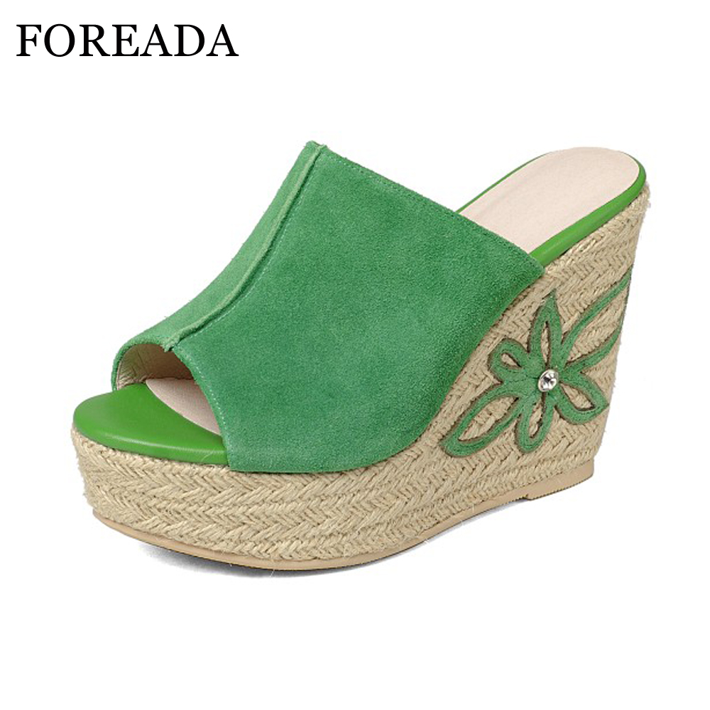 FOREADA Genuine Leather Shoes Women Sandals Platform Sandals Platform Wedge Sandals Peep Toe High Heels Flower Shoes Green White