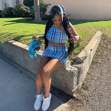 Fashion Sexy Crop Top And Mini Skirt Sets Two Piece Set Women 2019 Summer One Shoulder Plaid Print Summer Outfits