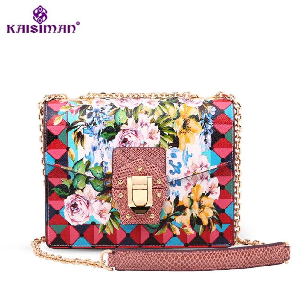 где купить Goddess!Luxury 100% Genuine Cowhide Leather Messenger Bags Women Handbag Lady Print Flower Shoulder Bag Original Famous Designer по лучшей цене