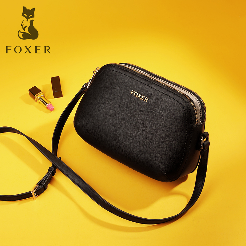 FOXER Brand Genuine Leather Lady Shoulder Bag Casual Women Fashion Small Messageer Bags Soild Soft Crossbody Bag-in Shoulder Bags from Luggage & Bags    1