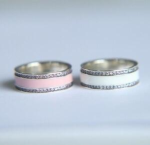 Женское кольцо из серебра 925 пробы с эмалью, серебряное кольцо розового цвета для помолвки в подарок