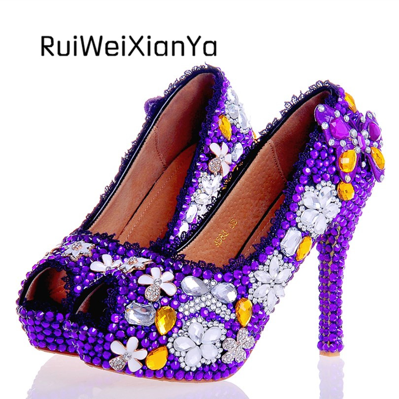 2017 New Arrive Spring Purple Wedding Shoes Crystal for Bridal Sweet Single Women Pumps Open Toe High Heels Plue Size Hot Sale 2017 new fashion spring ladies pointed toe shoes woman flats crystal diamond silver wedding shoes for bridal plus size hot sale