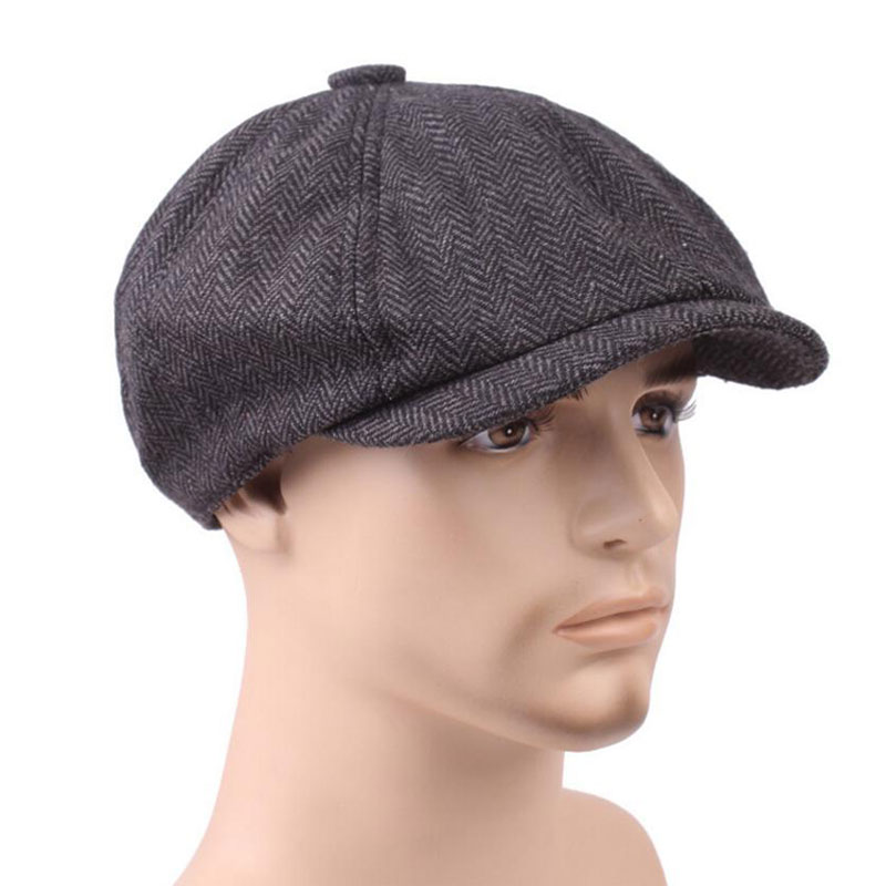 Fashion Men Berets Caps For Men Autumn Winter Adults Male Newsboy Flat Cap Peaked Herringbone Pattern Beret Hat Retro Casquette