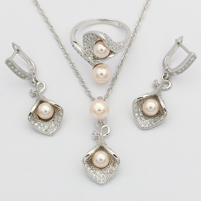 Morning Glory With Pink Pearl 925 Silver Bridal Jewelry Sets For Women Wedding Pendant Drop Earrings Rings Necklace Set