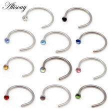 Alisouy 1PC Captive Tragus Stainless Steel 20G Crystal Stone Nose Ring Piercings Ear Stud Nariz Earrings Body Piercings Jewelry(China)