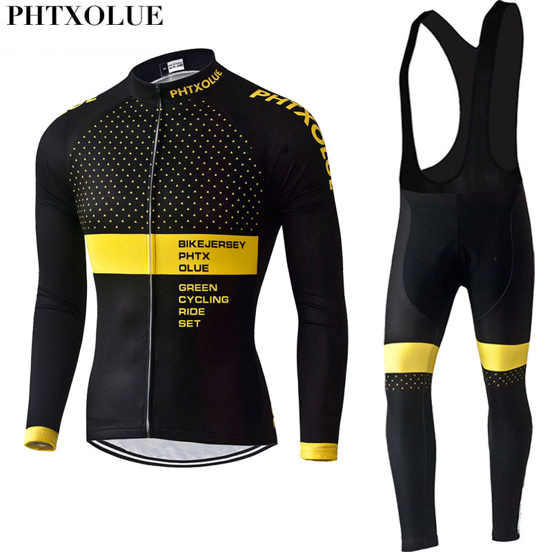 Phtxolue 2019 Cycling Set Men Cycling Clothing Bike Clothing Breathable Anti-UV Bicycle Wear Long Sleeve Cycling Jersey Sets Kit