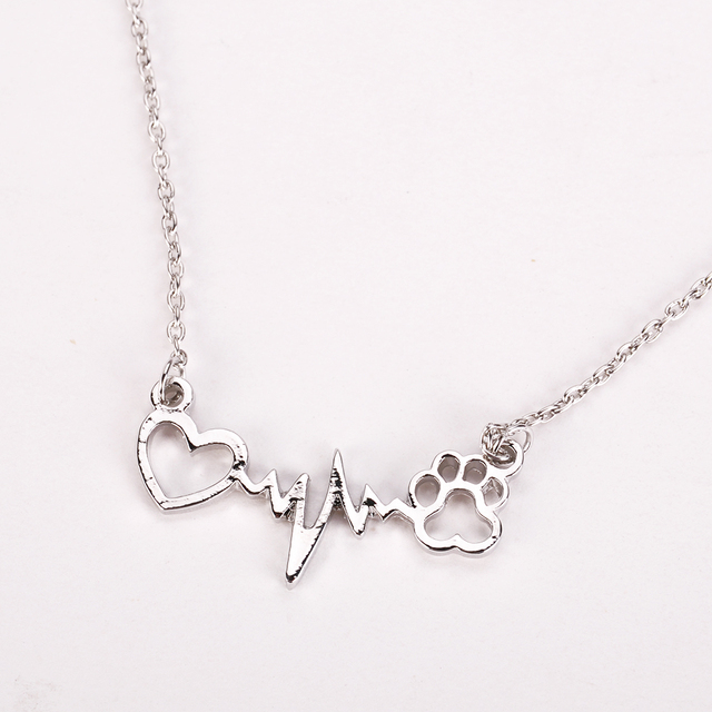 Fashion Cute Pets Dogs Footprints Paw Heart Love Chain Pendant Necklace Necklaces & Pendants Jewelry for Women statment necklace 1