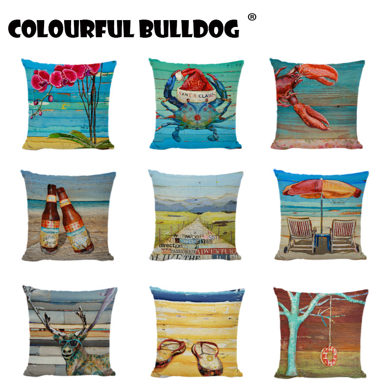 Ocean Style Blue Sea Throw Pillow Covers Cushions For Beauty Chair Slippers Boat Lifebuoy Letters Modern Art Throw Pillows Cases