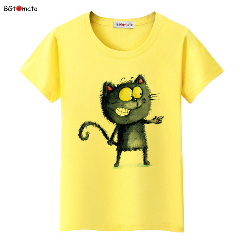 BGtomato New arrival lovely black cat cute t shirt woman's popular style Casual shirt Brand good quality funny shirt