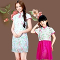 FAMILY Dress 2015 New Summer Woman Daughter Dresses, Chinese Dress Girls Family clothes, flower kids dress