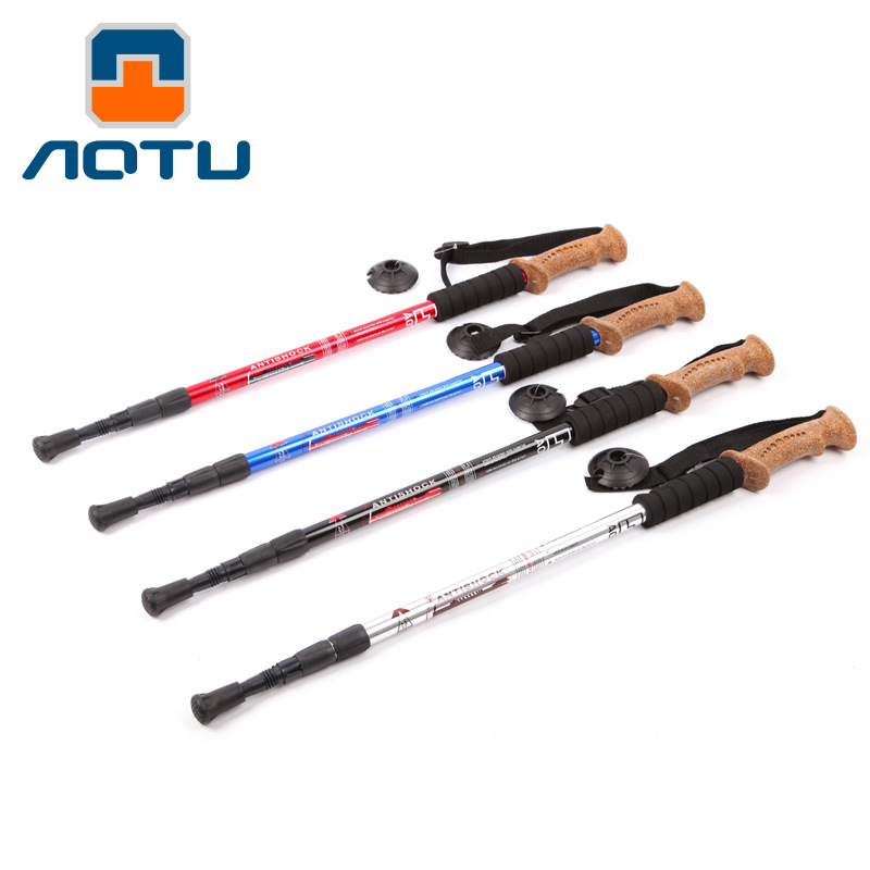 Aotu 7075 Aluminum Alloy With Parallel Shank Three Pole Soft Handle Hiking Stick Outdoor Crutches AT7551