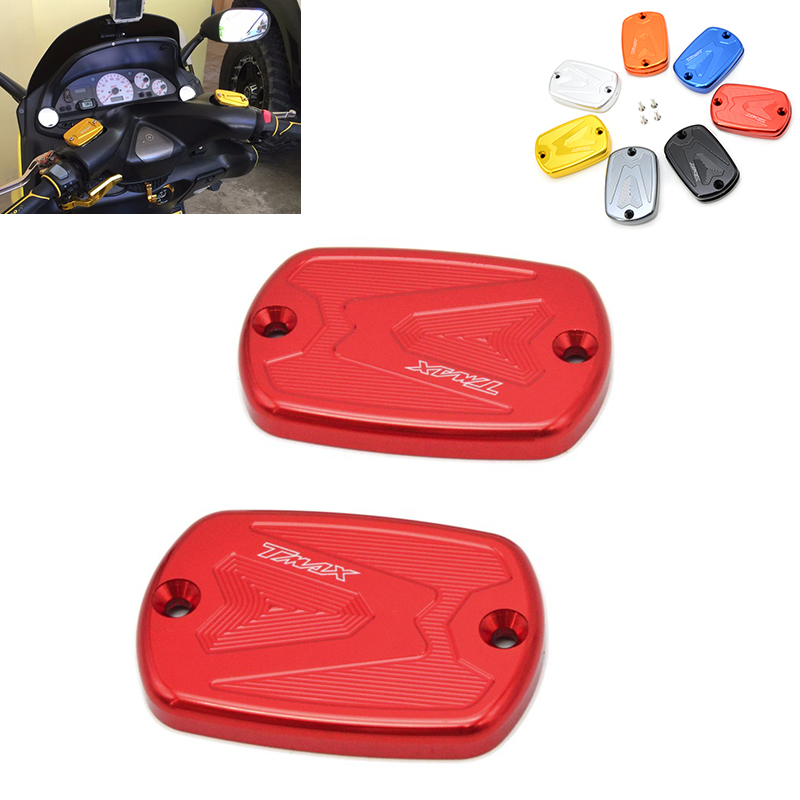 2 pieces Aluminum Motorcycle Front Brake Reservoir Fluid Tank Cap Modified Accessory for Yamaha TMax 530 2012-2016 500 2008-2011 motorcycle cnc front brake fluid reservoir cap cover for yamaha t max 530 500 tmax530 xp530 2012 2016 tmax500 xp500 2008 2011