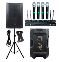 STARAUDIO 4500W 15 DSP Powered Active Stage 4 Ohm PA DJ Speaker KTV Audio Speaker Stand 4CH UHF Wireless Handheld Mic SDSP 15