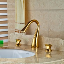 Widespread 3 Holes Brass Basin Faucet Dual Handles Gold Mixer Tap Bathroom Mixers